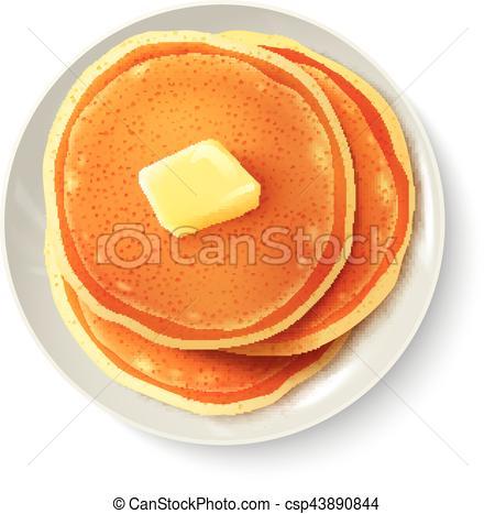 450x467 Breakfast Realistic Pancakes Top View Image. Breakfast Food Eps