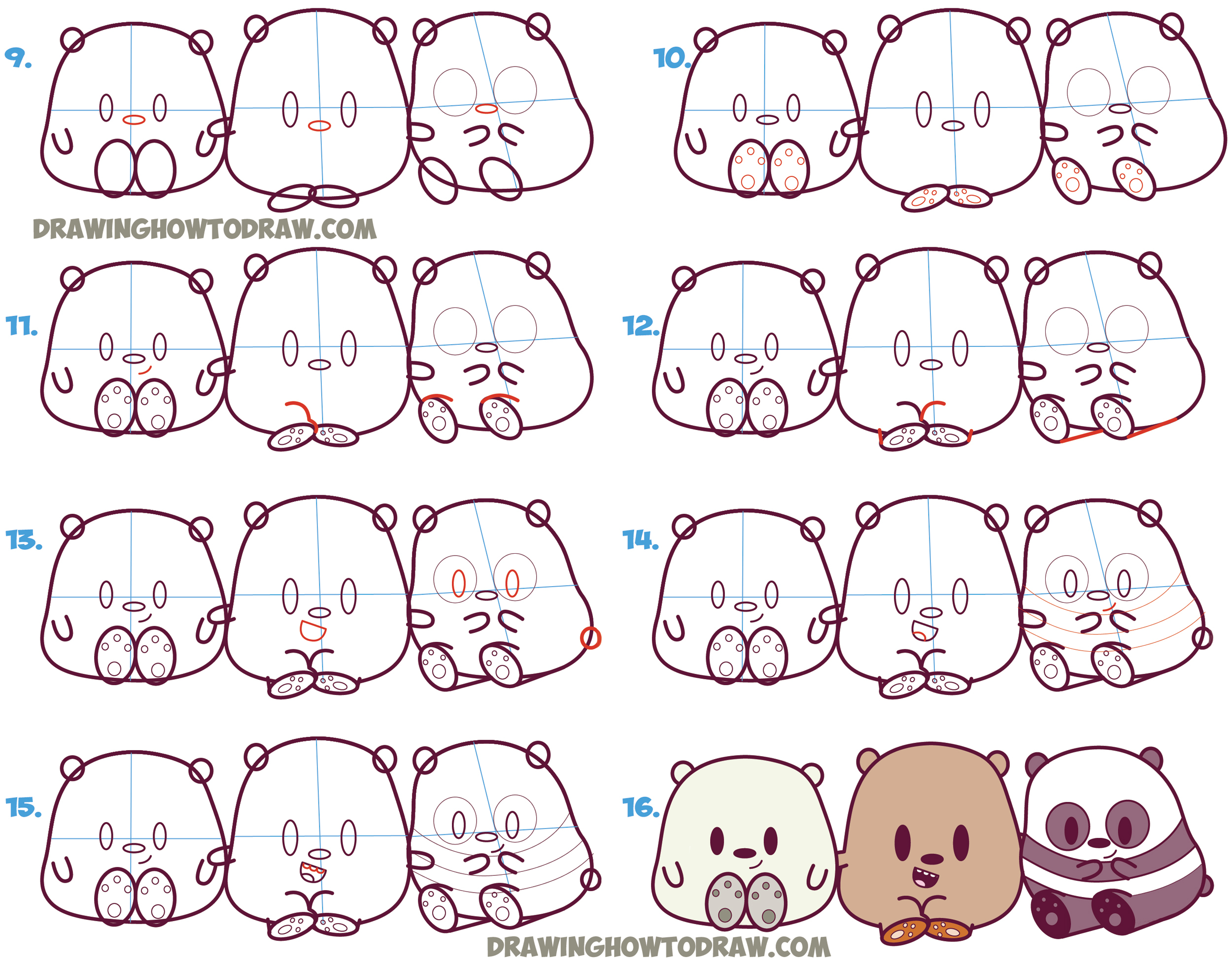 2500x1955 Panda Step By Drawing How To Draw We Bare Bears Cute