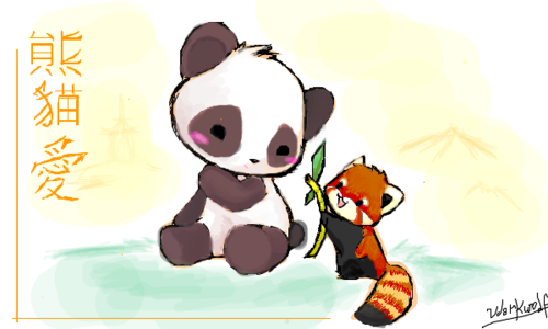 500x300 Cute Red Panda And Giant Panda Drawing On We Heart It