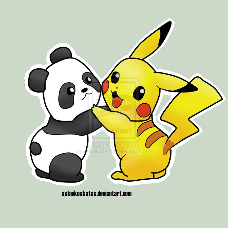 900x900 Anime Panda Drawing Pikachu Drawings Panda Pikachu Hug By