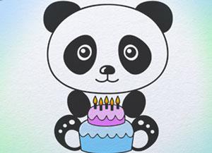 300x217 How To Draw Panda With Birthday Cakekids Art Hub
