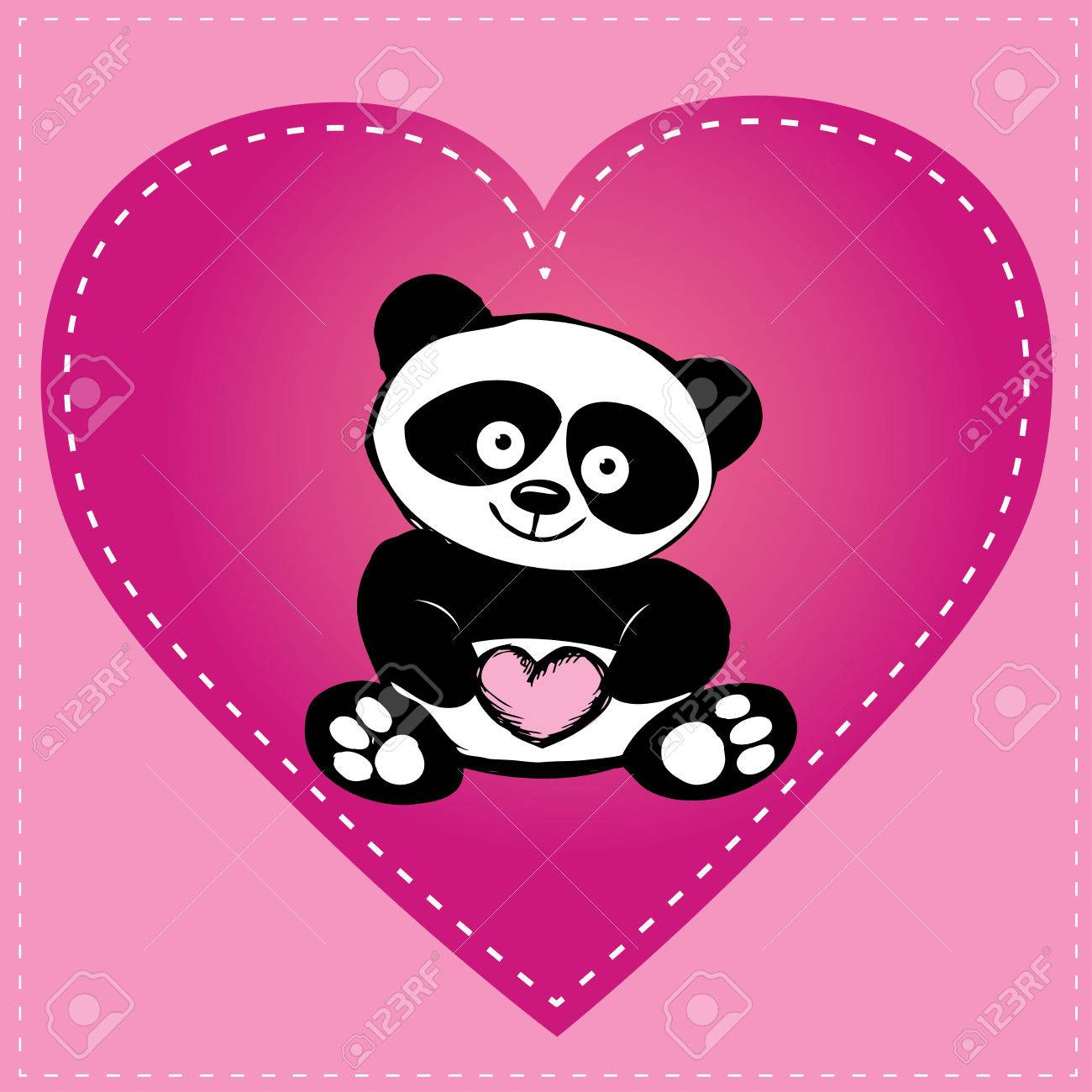 1300x1300 Little Cute Panda In Heart, Hand Drawing, Vector Royalty Free