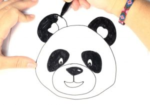 300x210 A Drawing Of A Panda Ink Drawing Pandas Face Raster Stock