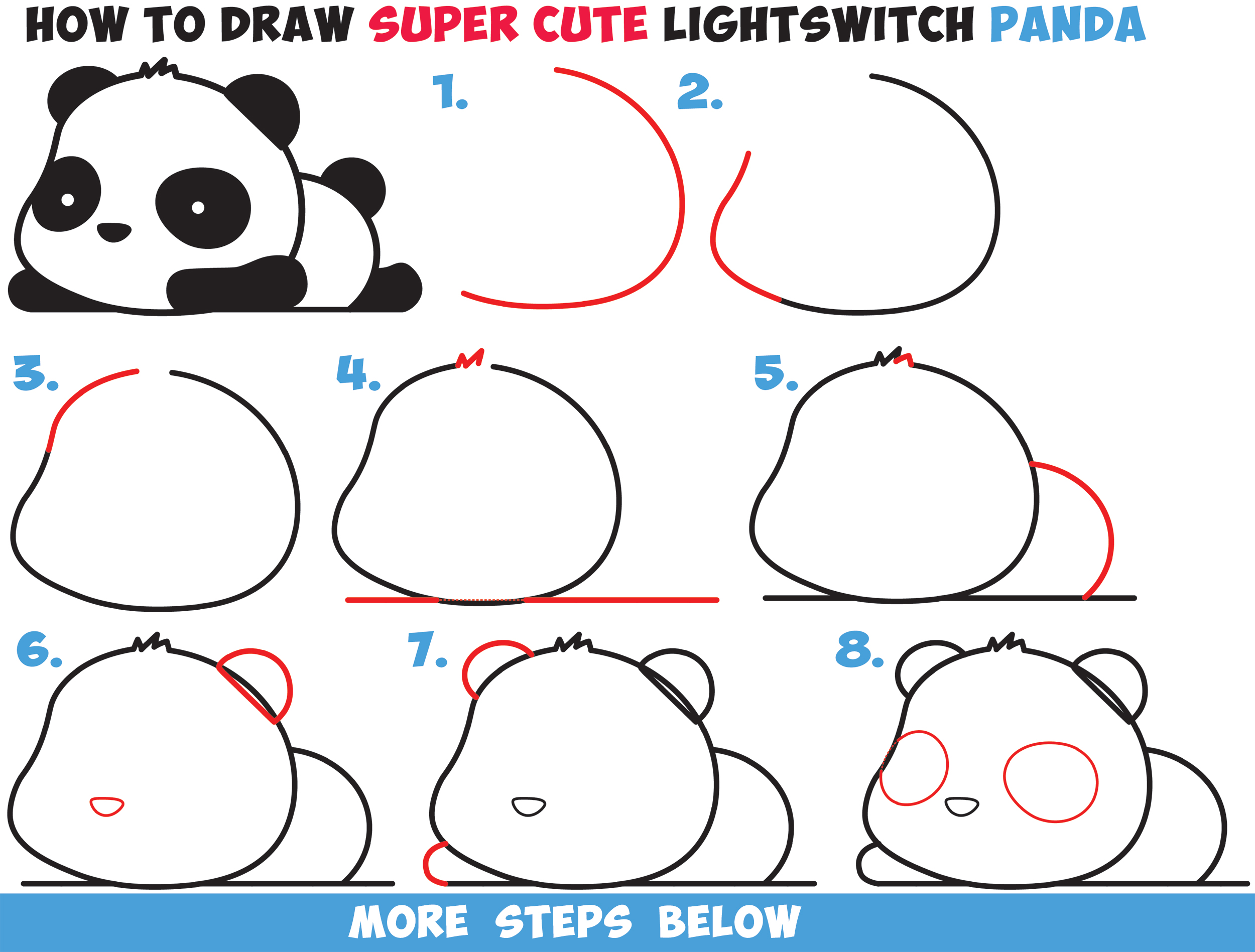 2500x1897 How To Draw A Super Cute Kawaii Panda Bear Laying Down Easy Step