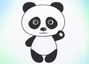 300x217 Tutorial How To Draw Panda Bear Step By Step For Children Any Age