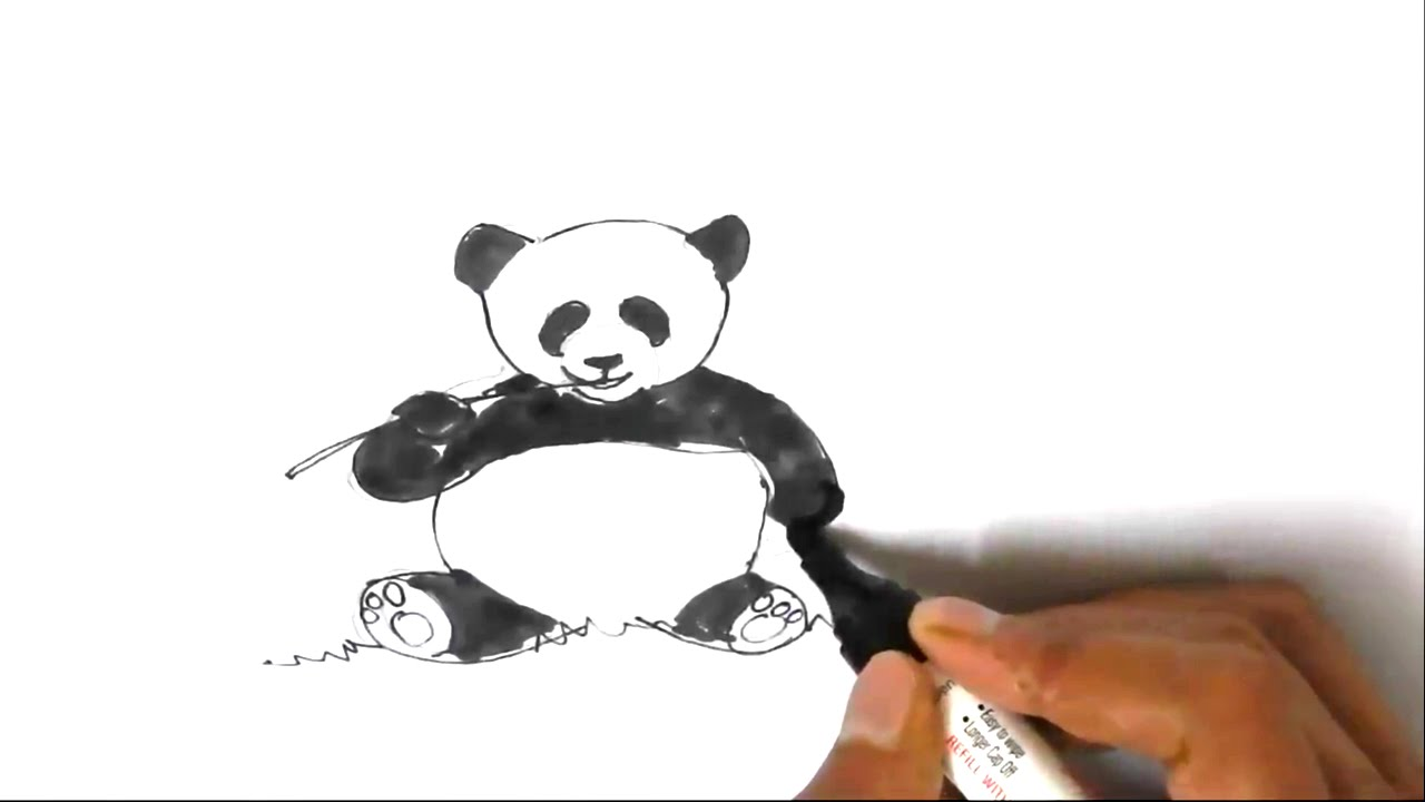 1280x720 How To Draw A Panda In Easy Steps For Children, Kids, Beginners