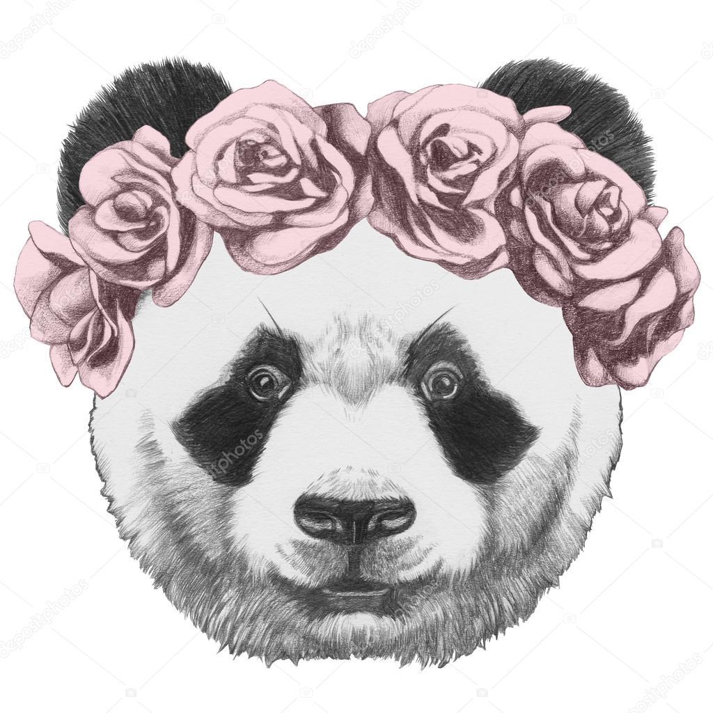 1024x1024 Original Drawing Of Panda With Roses Stock Photo
