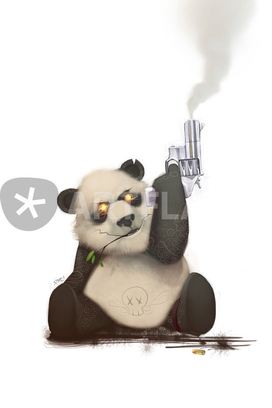 533x800 Panda With Gun Drawing Art Prints And Posters By Francisco Perez