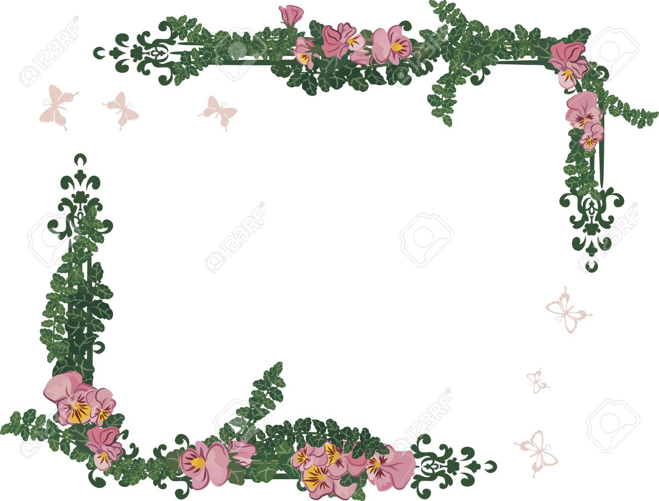 1300x989 Drawing Of Pansy Frame Elements With Butterflies. Stock Photo