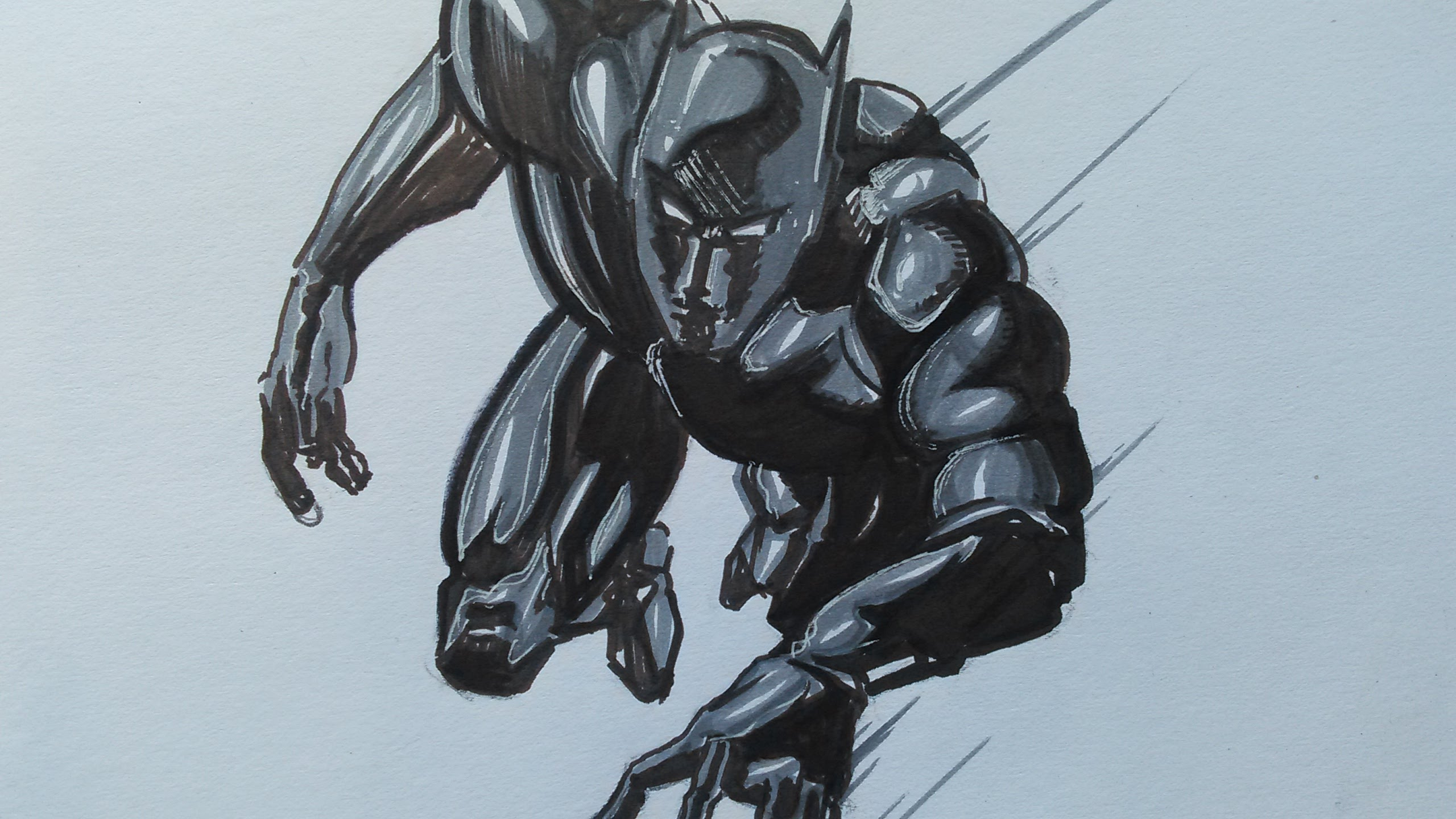 2560x1440 Black Panther Marvel Comic Drawing