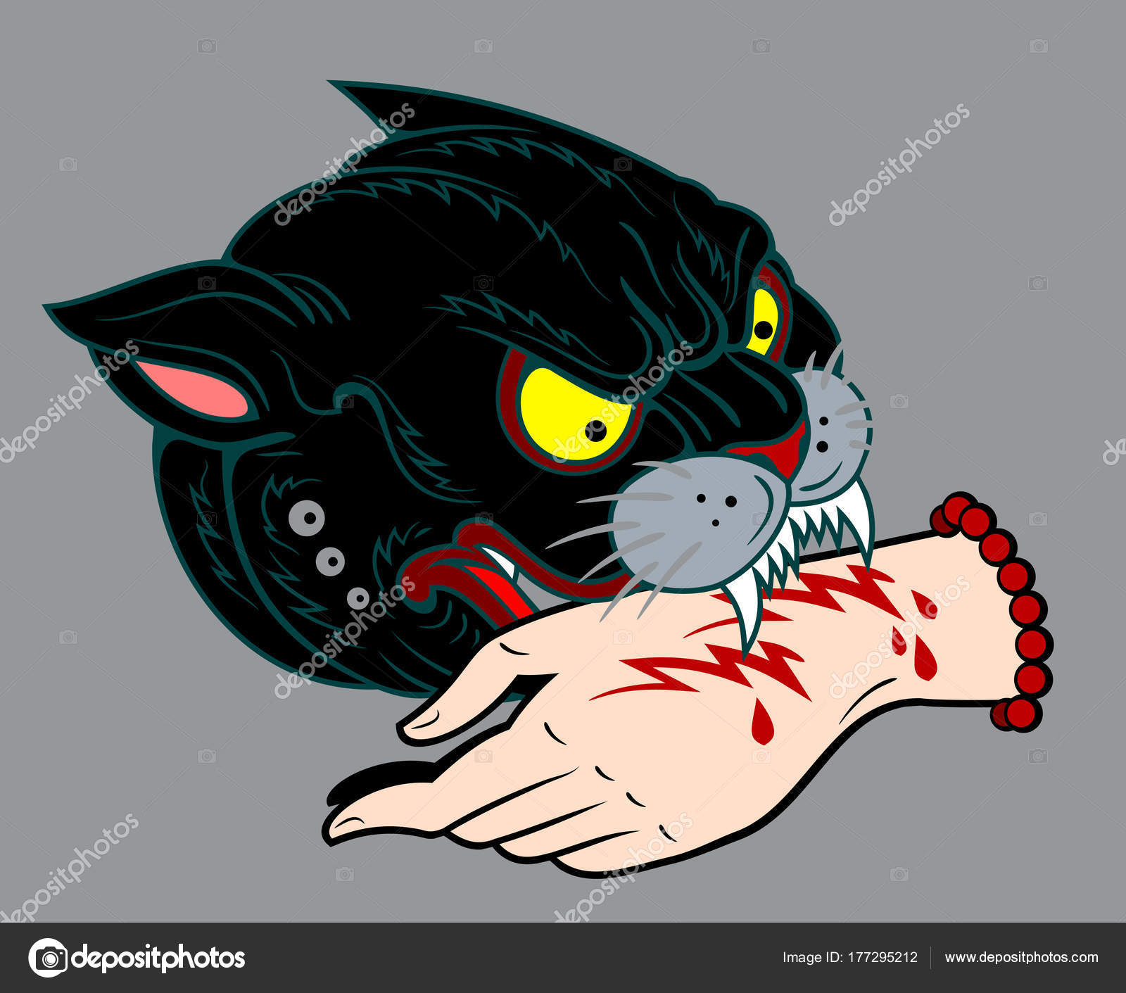 1600x1411 Portrait Black Panther Holding Bloody Human Hand His Mouth Drawing