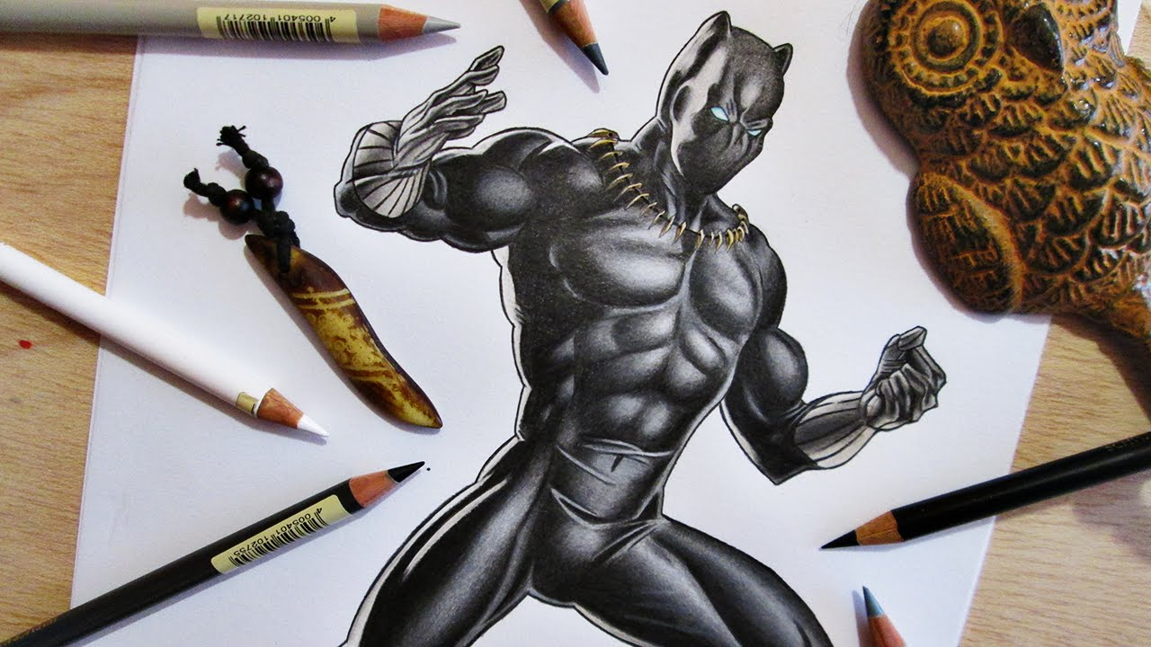 1280x720 Speed Drawing Black Panther Marvel Comics