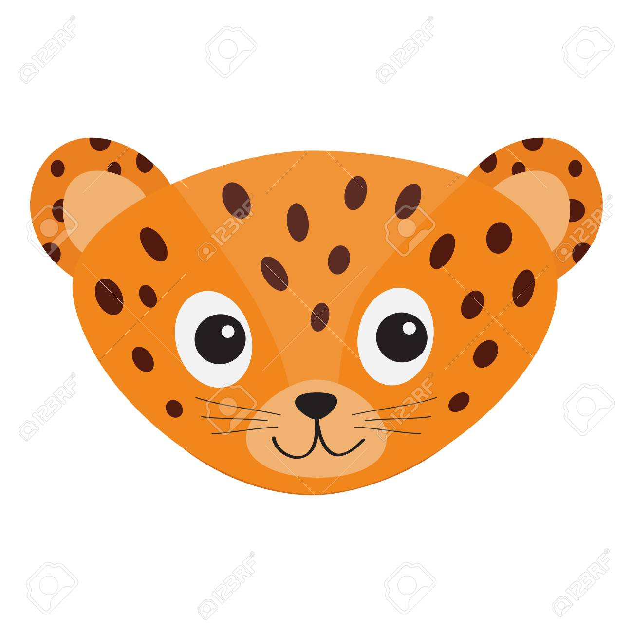 1300x1300 Jaguar Leopard Head. Wild Cat Smiling Face. Orange Panther