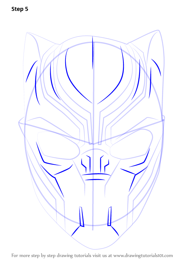 596x843 Learn How To Draw Black Panther Mask (Captain America Civil War