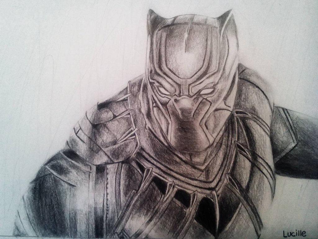 1024x768 Black Panther Marvel Drawing Marvel Black Panther Drawing By