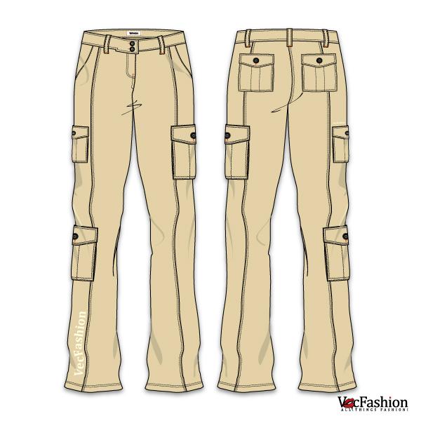 600x600 Women's Cargo Pants Vector Template Sewing Cargo