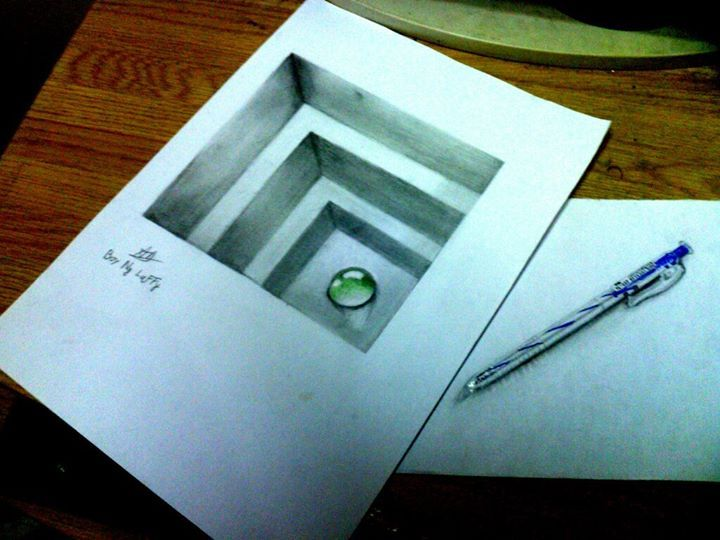 720x540 Drawn Paper Drawing 3d Pencil And In Color Drawn Paper Drawing 3d