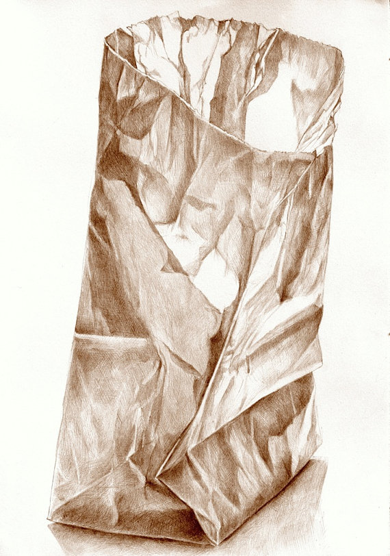 570x812 Art Drawing, Brown Paper Bag 2 Sepia Pencil Drawing, Kitchen Art