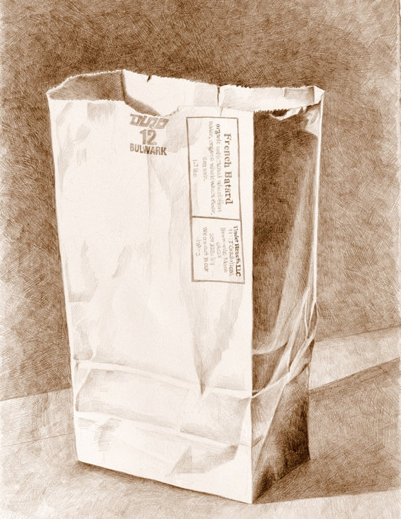 570x737 Art Drawing Brown Paper Bag 1 Sepia Pencil