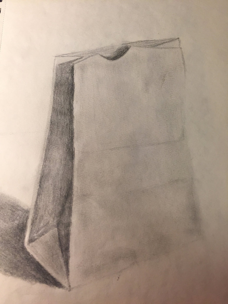 774x1032 Paper Bag Shading Drawing By Drawingforevs867