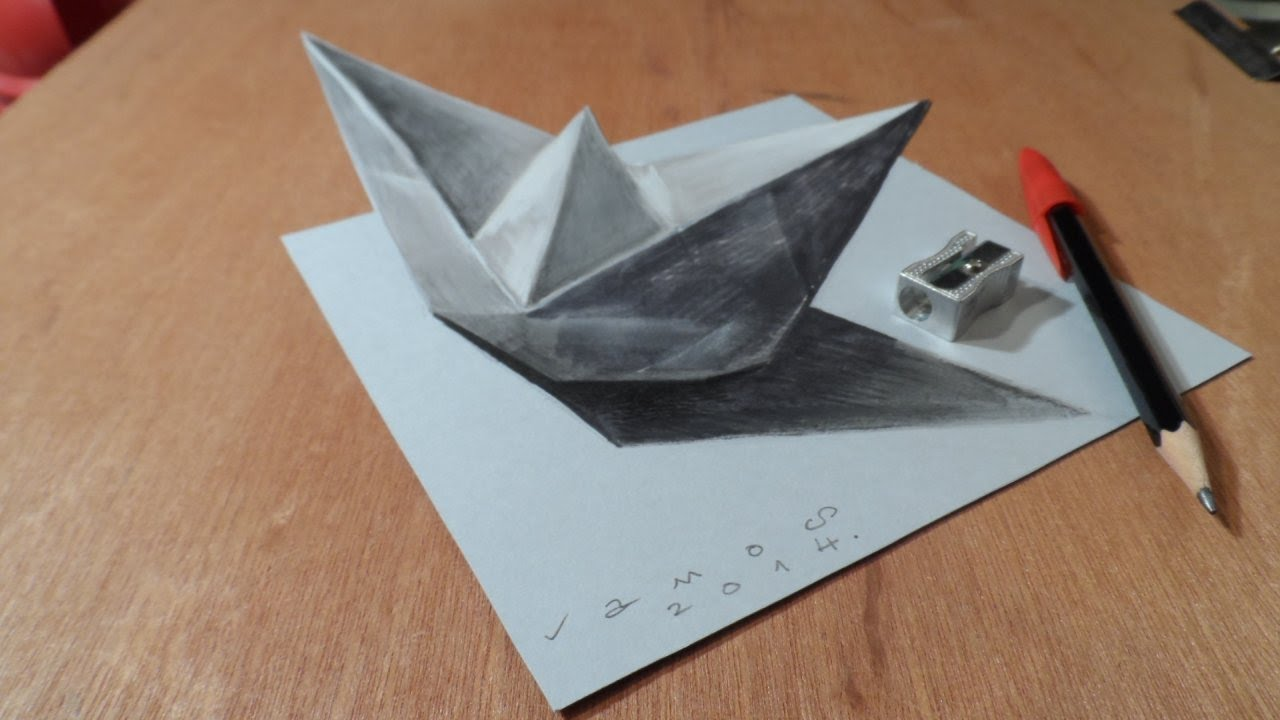 Paper boat drawing at getdrawings free for personal use paper 1280x720 drawing a 3d paper ship optical illusion by vamos malvernweather Choice Image
