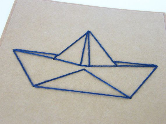 570x427 Origami Boat Embroidered Card Diy Paper