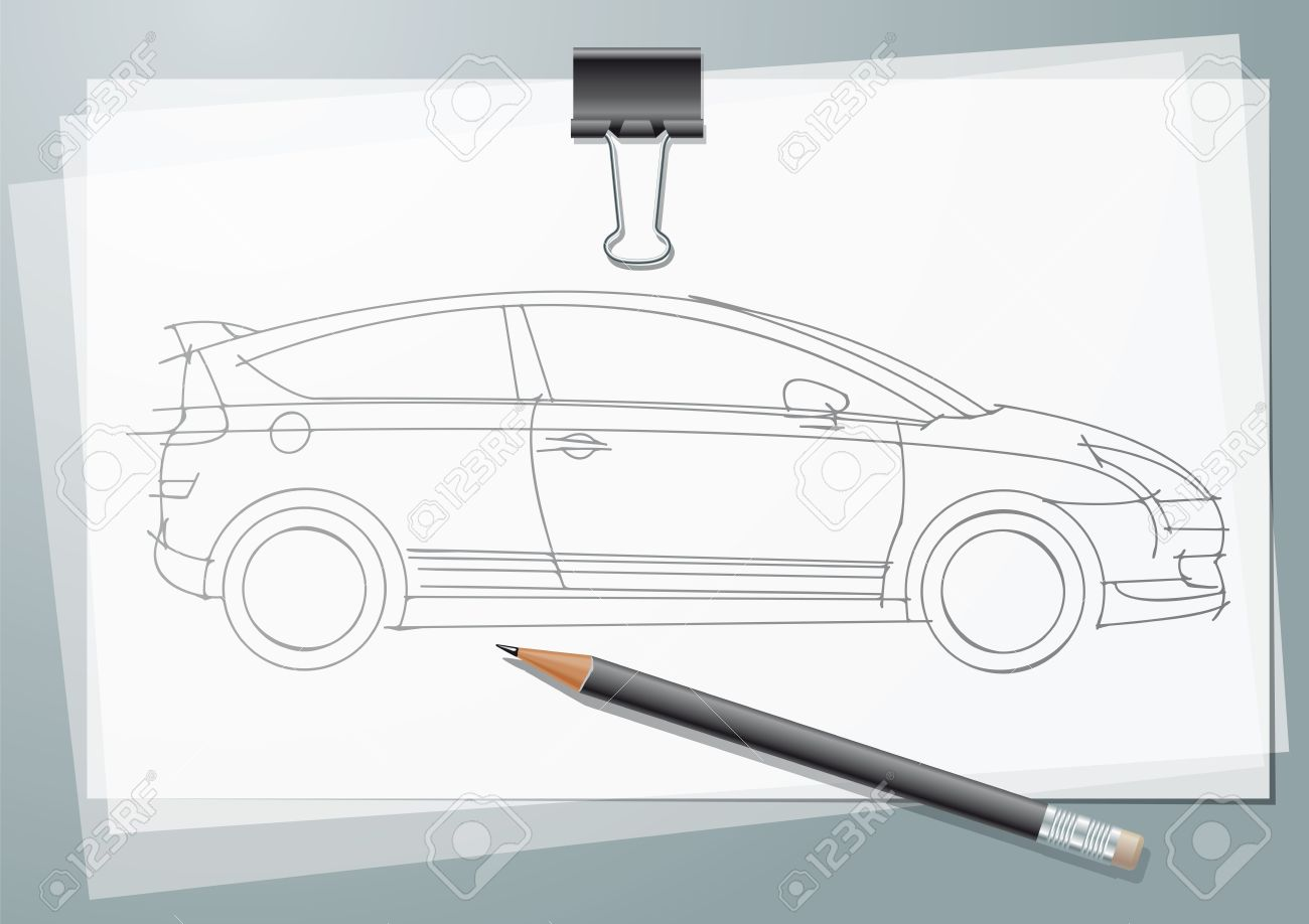 1300x918 Car Sketch Project. Pencil Drawing On A Calc With Paper Clip