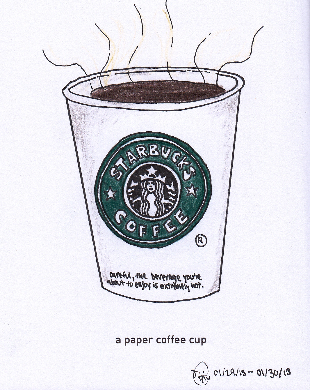 1066x1339 1 Girl. 365 Days. 642 Things To Draw. A Paper Coffee Cup