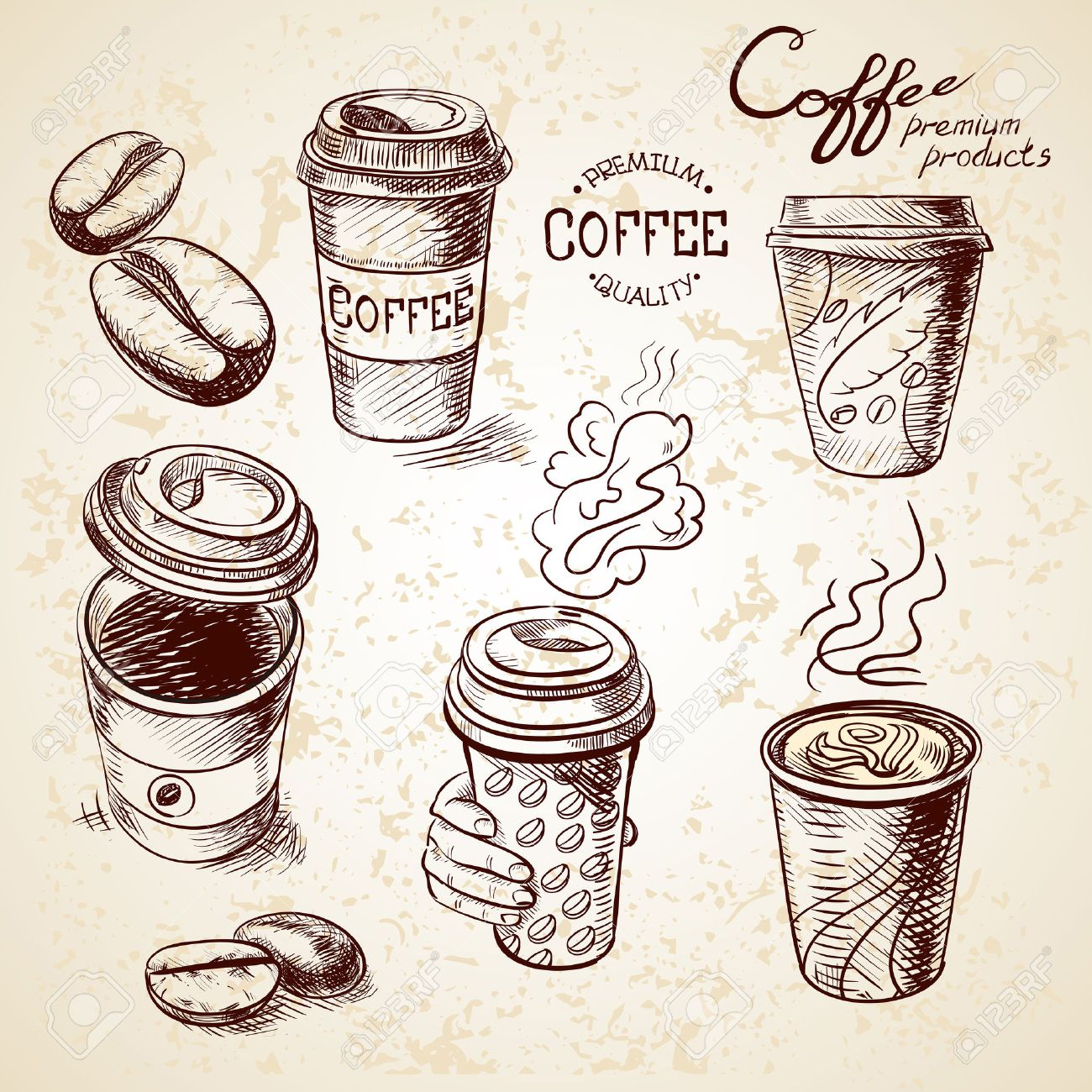 1300x1300 Hand Drawn Doodle Sketch Vintage Paper Cup Of Coffee Takeaway