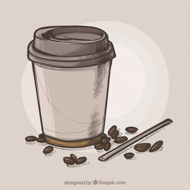 626x626 Hand Drawn Paper Coffee Cup Background Vector Free Download