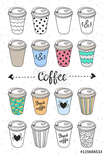 334x500 Paper Coffee Cups For Coffee To Go. Doodle Design Take Away Hot