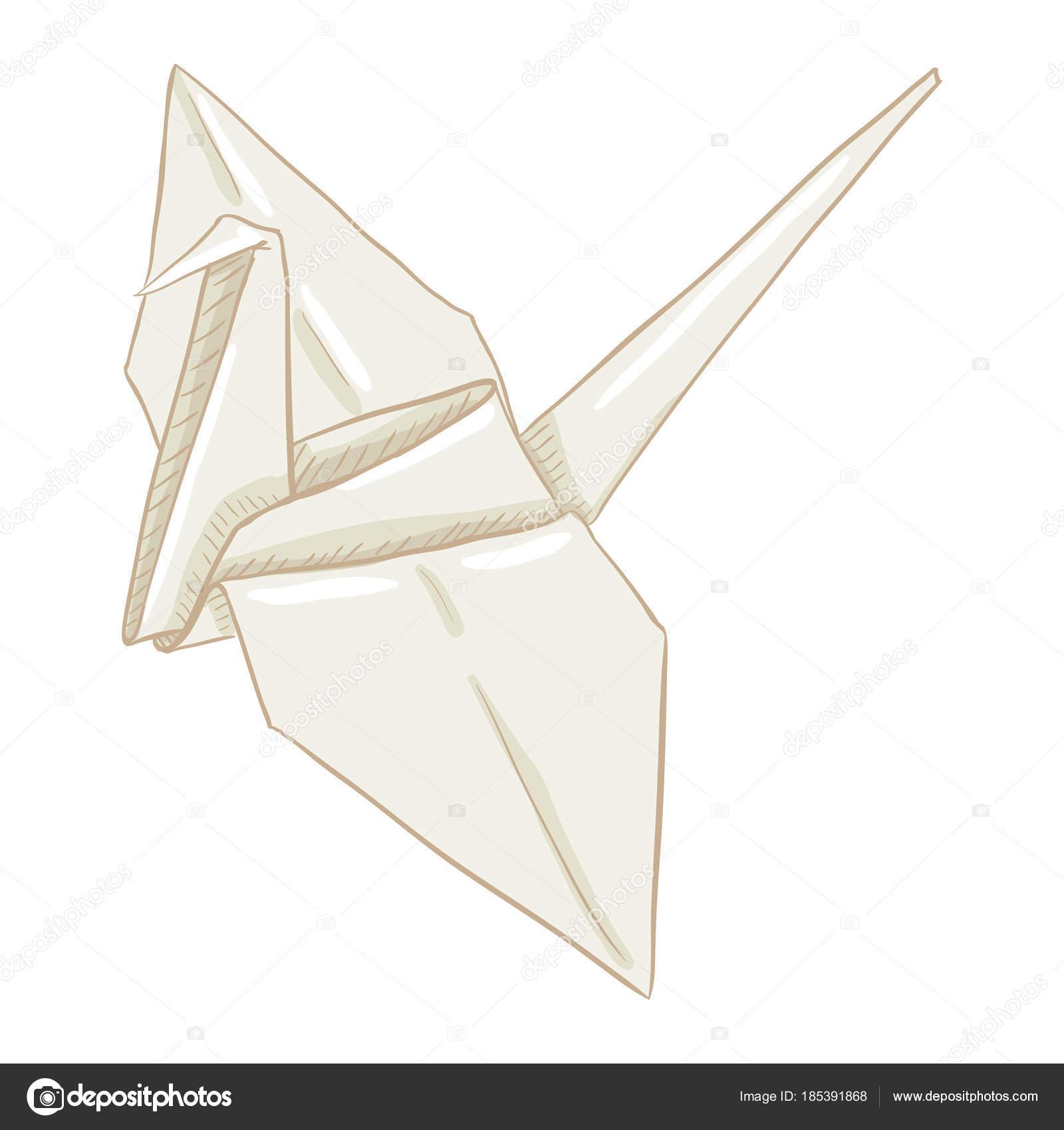 1600x1700 Origami White Paper Crane Artwork Vector Illustration Stock