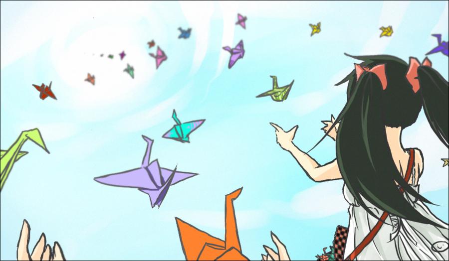 900x524 Paper Cranes By Nekodoru