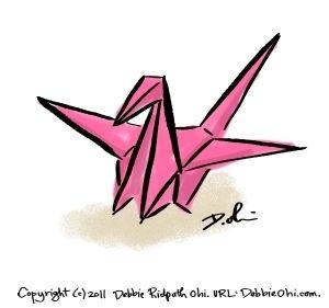 300x281 Paper Crane Drawing Tiny Art Paper Cranes