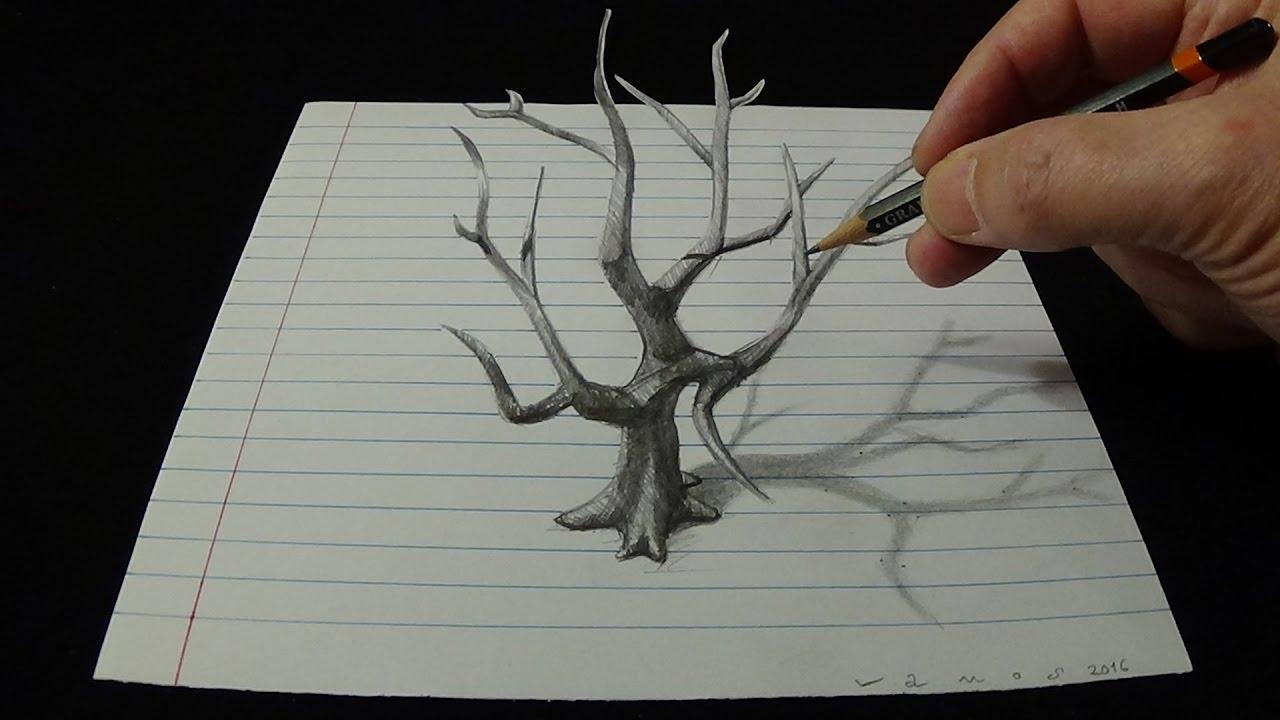 1280x720 Art 3d Drawing Old Tree