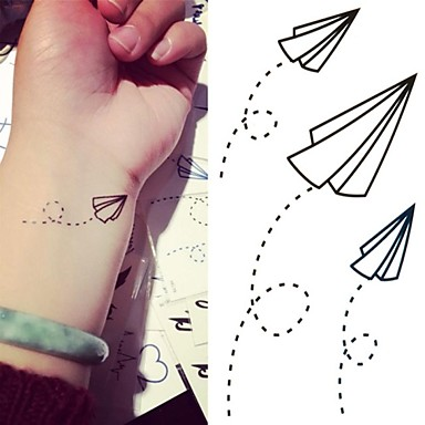 384x384 Paper Airplanes Paper Plane Tattoo Stickers Temporary Tattoos(1 Pc