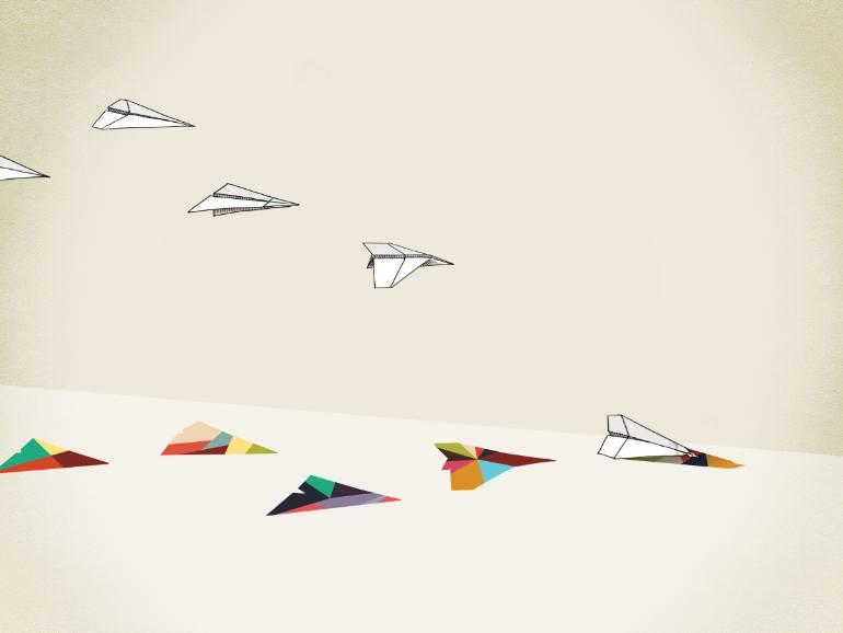 770x578 Saatchi Art Walking Shadow, Paper Planes Drawing By Jason Ratliff