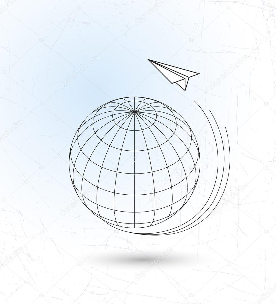 929x1023 Flying Paper Plane Around Earth Stock Vector Alexcosmos
