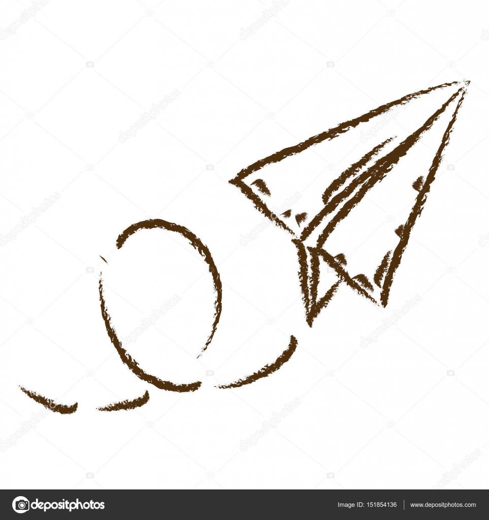 963x1024 Monochrome Hand Drawn Silhouette Of Paper Plane Stock Vector