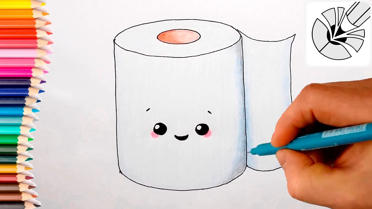 1280x720 How To Draw A Cute Toilet Paper Roll And Color