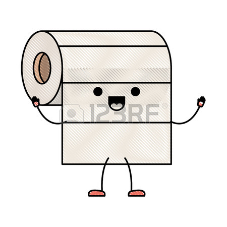 450x450 Roll Paper Towel Cartoon Character. Royalty Free Cliparts, Vectors
