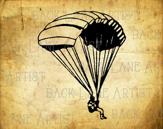 570x452 Vintage Parachute Clipart Lineart Illustration Instant