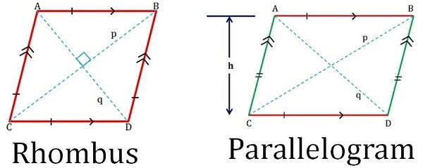 600x239 Difference Between Rhombus And Parallelogram (With Comparison