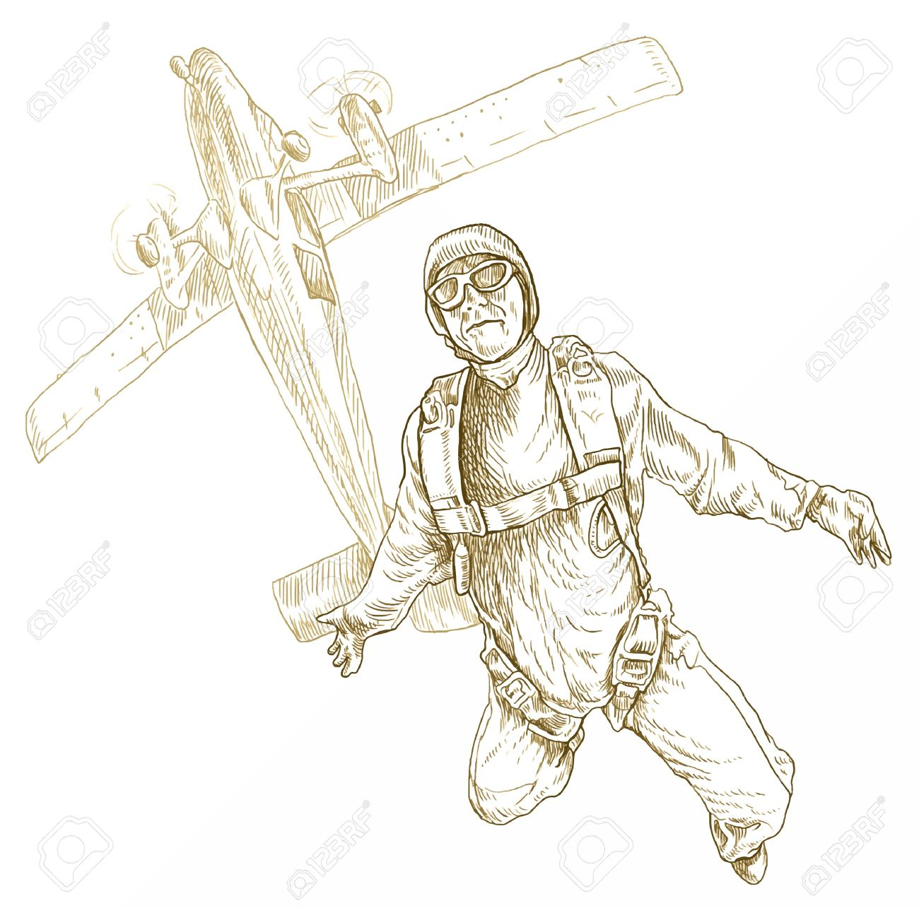 1300x1285 Parachutist, Hand Drawing Converted Royalty Free Cliparts, Vectors