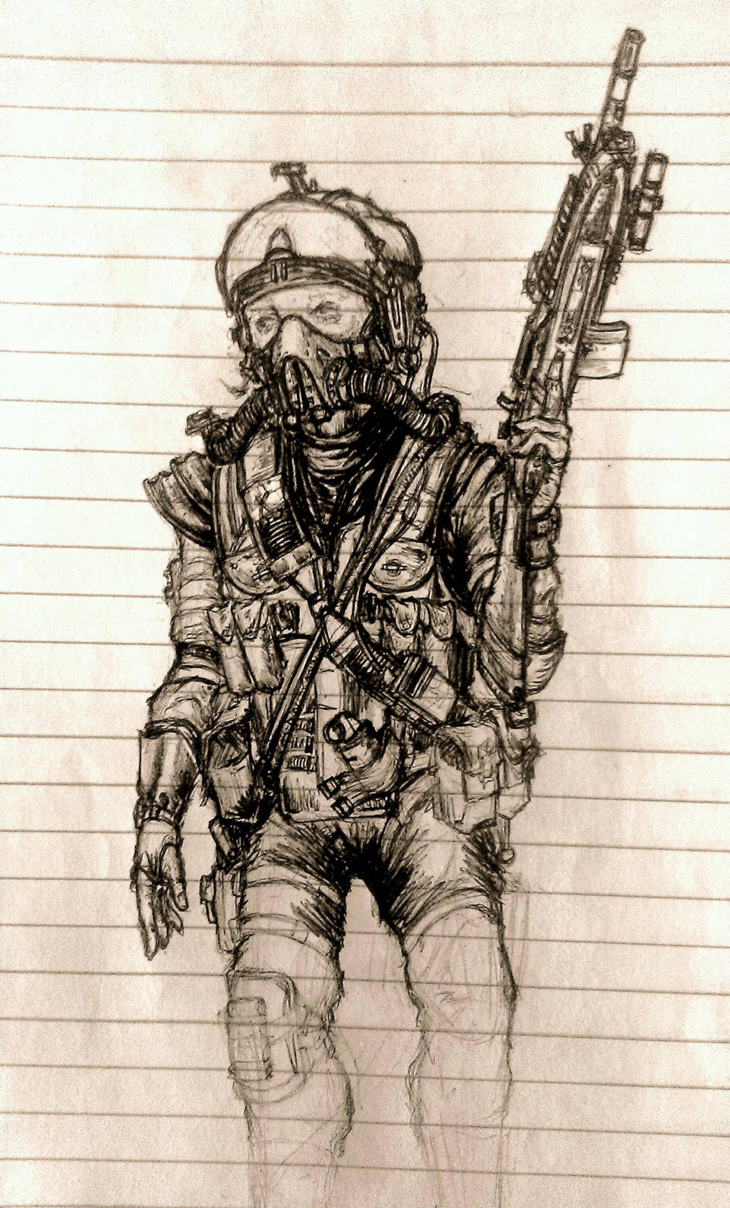 1454x2405 Paratrooper Drawing (Ballpoint Pen) Drawing