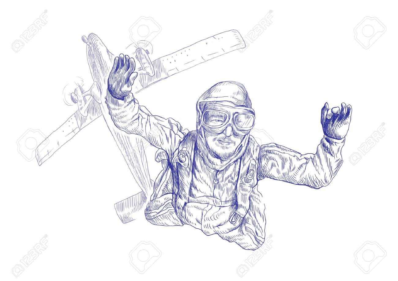 1300x918 Skydiving, Parachutist Full Sized Original Hand Drawing Stock