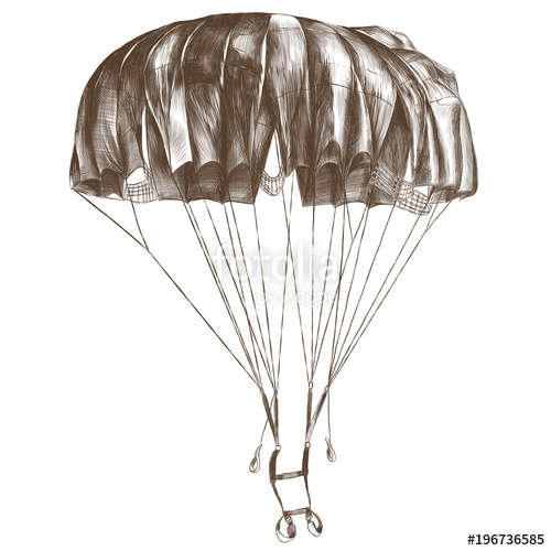 500x500 Round Outdoor Parachute In The Air Sketch Vector Graphic