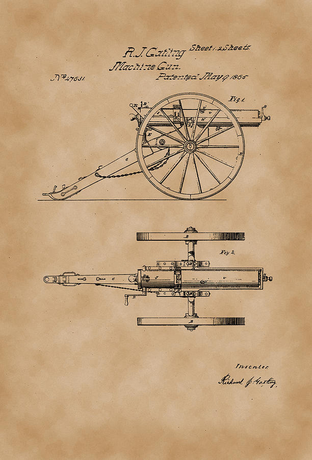 612x900 Gatling Machine Gun Patent Drawing 1865 Parchment Drawing By