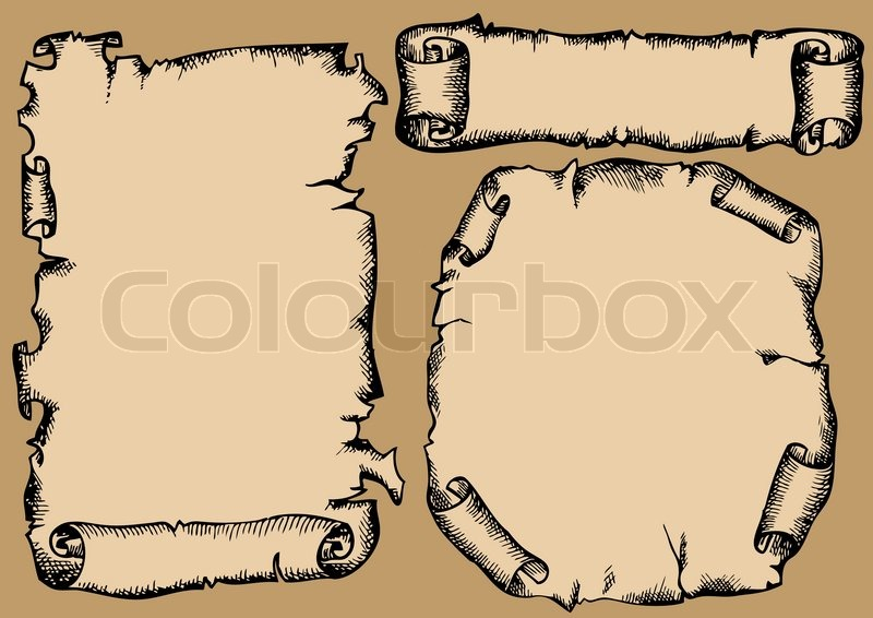 800x566 Rolls Of Parchment Set (Hands Drawing ) Stock Vector Colourbox