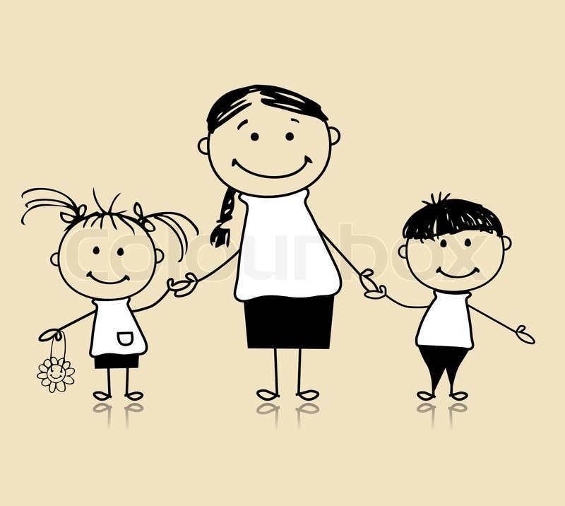 800x716 Happy Family Smiling Together, Mother And Children, Drawing Sketch